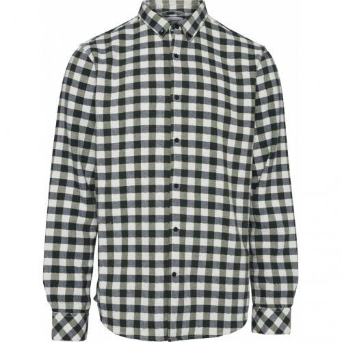 Chemise à carreaux vert forêt flanelle en coton bio - Knowledge Cotton Apparel