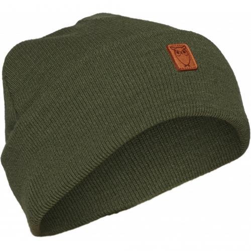 Bonnet à revers vert en laine bio