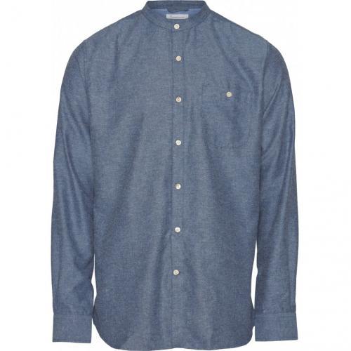 Chemise col mao bleue en coton bio - mélange effet flanelle - Knowledge Cotton Apparel