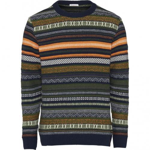 Pull jacquard multicolore en coton bio et laine - Knowledge Cotton Apparel