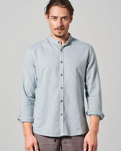 Chemise col mao finement rayée