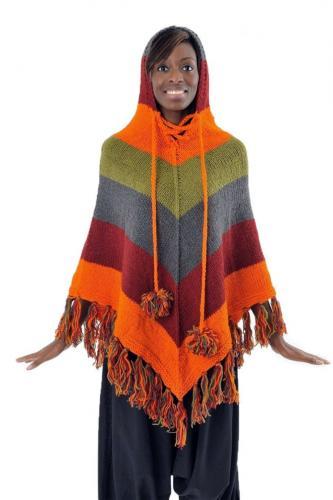 Poncho pure laine douce du Nepal multicolore
