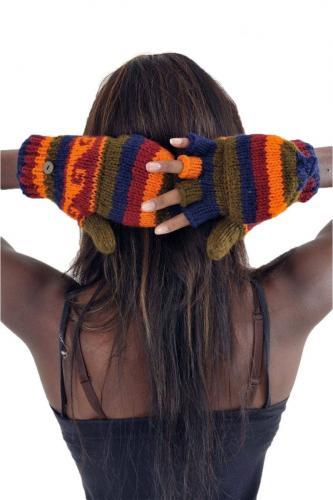 Gants 100% laine douce doublés polaire multicolores