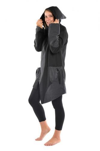 Manteau ethnique noir gris grand froid Dayang