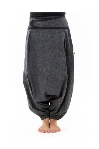 Sarouel femme hiver gris souris imprime psychedelic noir