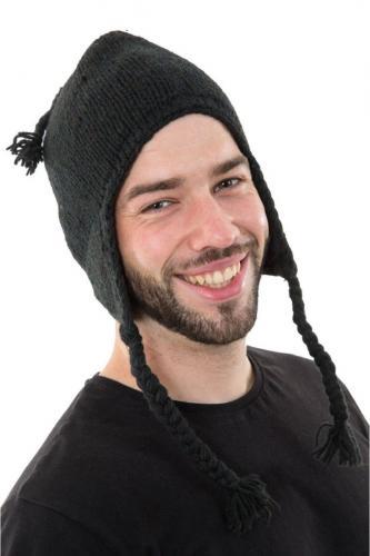Bonnet laine douce du Nepal double polaire Noir