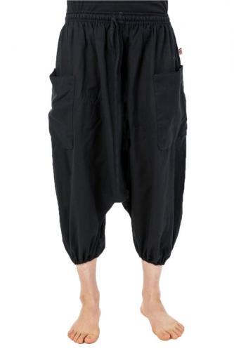 Sarouel pantacourt grande taille coton leger noir uni
