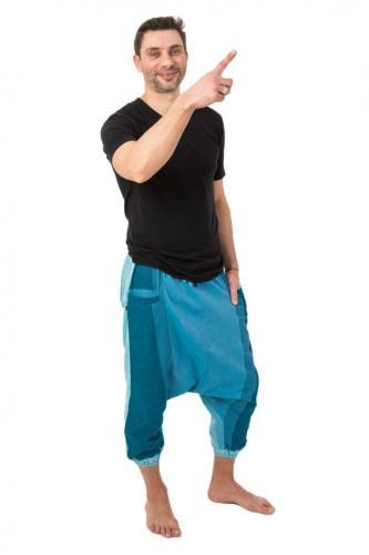 Sarouel pantacourt babacool homme pur coton leger bleu zen