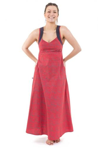 Robe ethnique longue rose gris bretelles dos originales Sytalee