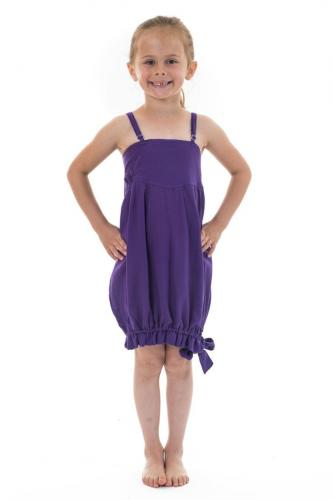 Robe bandeau smocke violette bretelles reglables Mini Svinah