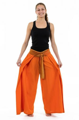 Pantalon ethnique leger ceinture sari brillant orange Orih