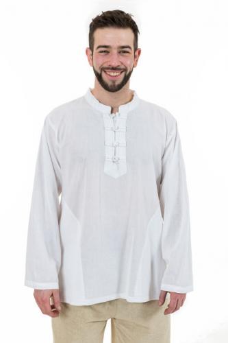 Chemise ethnic asia col mao boutons coton blanc milk Dudha