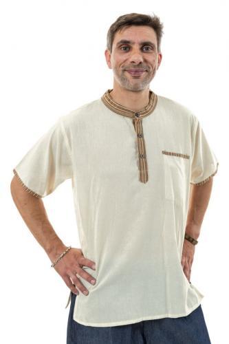 Chemisette ethnique coton ecru Malisah