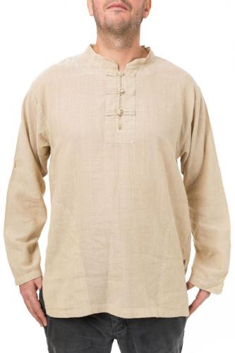 Chemise col mao homme chanvre