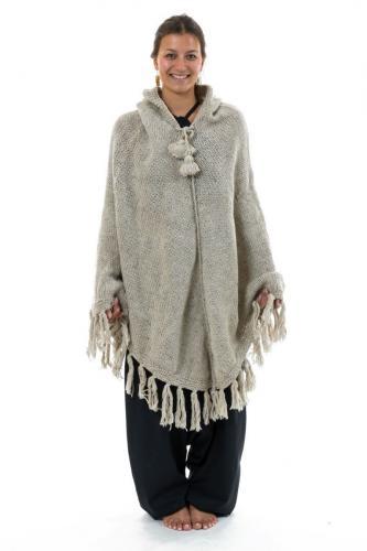 Poncho pure laine douce du Nepal gris chine clair