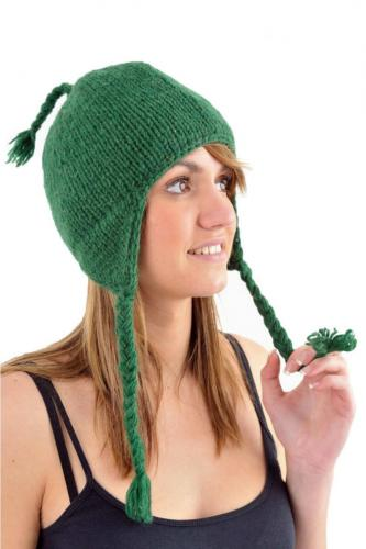 Bonnet vert anglais pure laine et polaire douce du Nepal