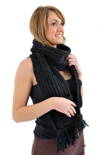 Echarpe mouffle pure laine noire