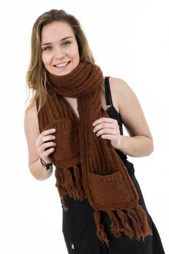 Echarpe mouffle pure laine marron clair