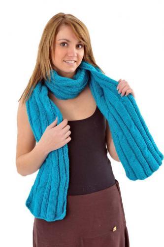 Echarpe pure laine douce turquoise