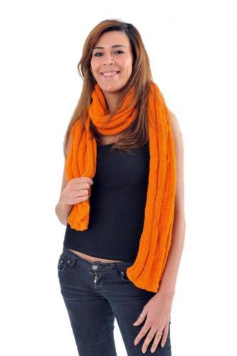 Echarpe pure laine douce orange