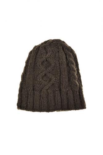 Bonnet torsades gris laine et polaire douce
