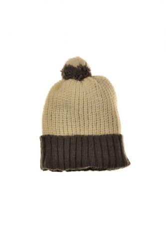 Bonnet pompon laine et polaire douce bicolore