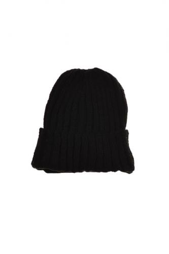 Bonnet large revers laine et polaire douce all black