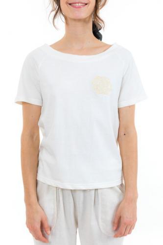 Top tee shirt femme broderie fleur ecru