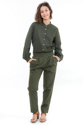 Chemise femme kaki manches longues