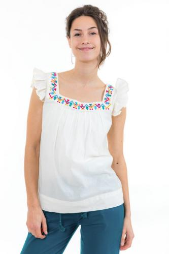 Top femme broderies et manches volantees