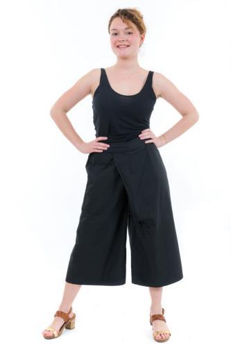 Pantalon raccourci trois quarts large noir