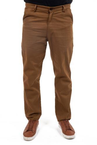 Pantalon twill doux marron fauve Sinha