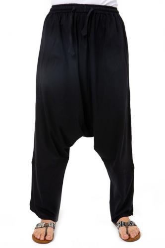 Sarouel long noir uni jersey doux Bukha