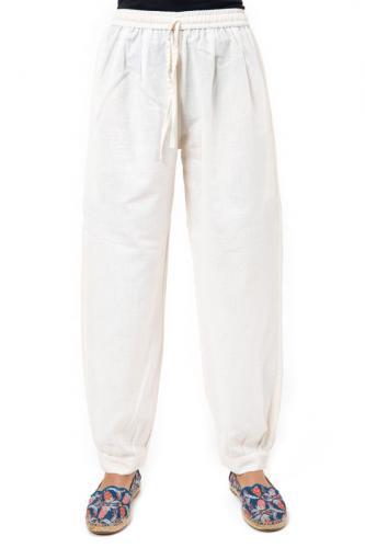 Pantalon aladin chanvre et coton ecru Pia