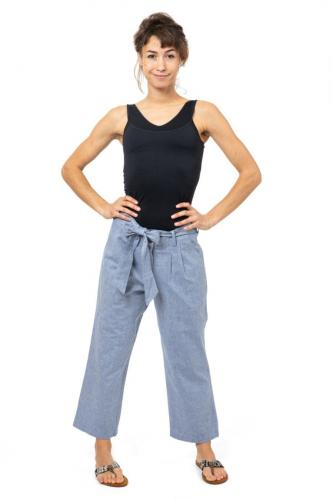 Pantalon coton droit large boheme chic