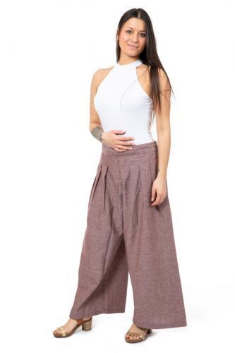 Pantalon large plis chanvre et coton Lysa