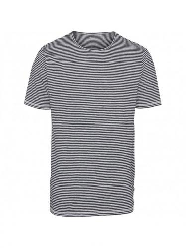 Narrow stiped linen t-shirt - Total eclipse - knowledge Cotton Apparel