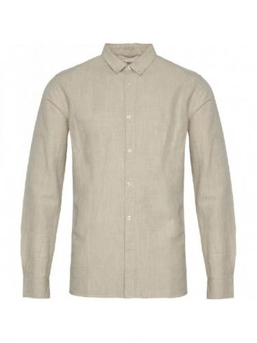 Chemise Larch LS Linen - Light feather gray - Knowledge cotton apparel