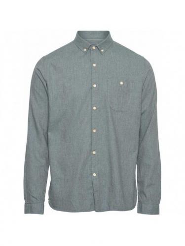 Chemise Elder Regular Fit Melange Flannel - Green Forrest - Knowledge cotton apparel