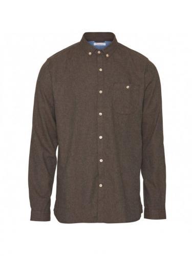 Chemise Elder Regular Fit Melange Flannel - Dark Earth - Knowledge cotton apparel