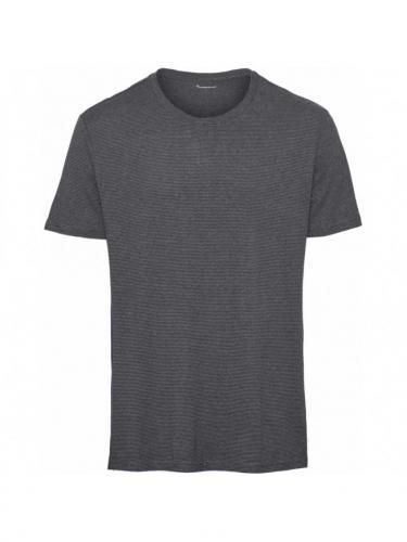 T-shirt Alder Striped Hemp - Total eclipse - Knowledge Cotton Apparel