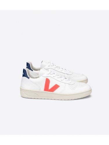 V10 Leather - Extra White / Orange Fluo / Cobalt - Veja