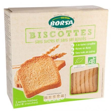 Biscotte farine complète sans sucre et sans sel bio