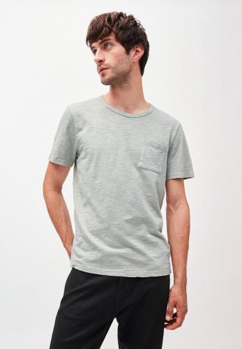 T-shirt avec poche gris/vert en coton bio - paaul pocket - Armedangels
