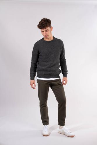Pantalon droit en twill épais vert forêt en coton bio - bob - Knowledge Cotton Apparel