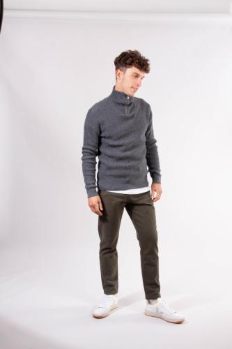 Pull col zippé gris en coton bio et laine bio - valley - Knowledge Cotton Apparel