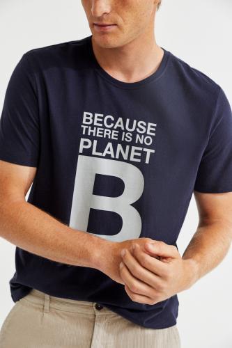 T-shirt marine imprimé blanc en coton bio - natal great b - Ecoalf