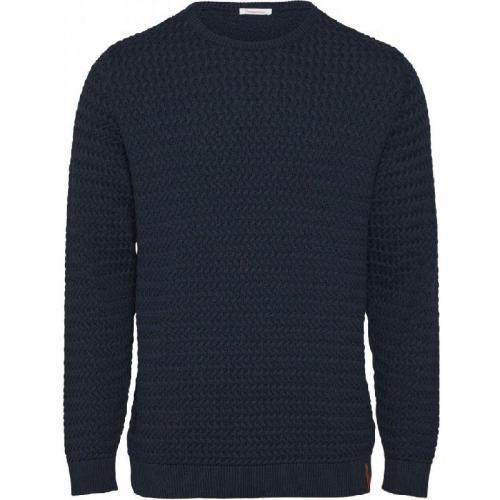 Pull col rond bleu nuit en coton bio - field - Knowledge Cotton Apparel