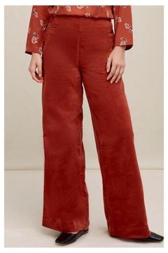 Pantalon ample velours ocre rouge en coton bio - caren - People Tree
