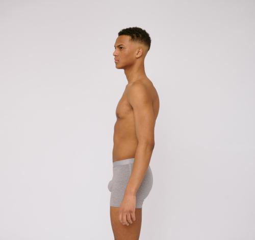 Pack 2 boxers unis gris en coton bio - Organic Basics